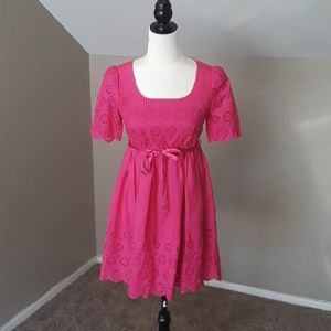 Betsey Johnson Pink Silk Babydoll Eyelet Dress